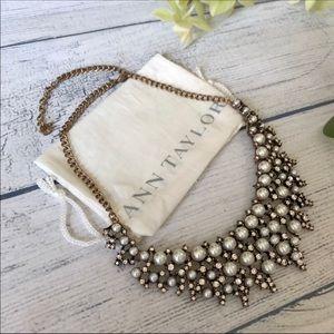 Loft Pearl & Diamond Bib Statement Necklace